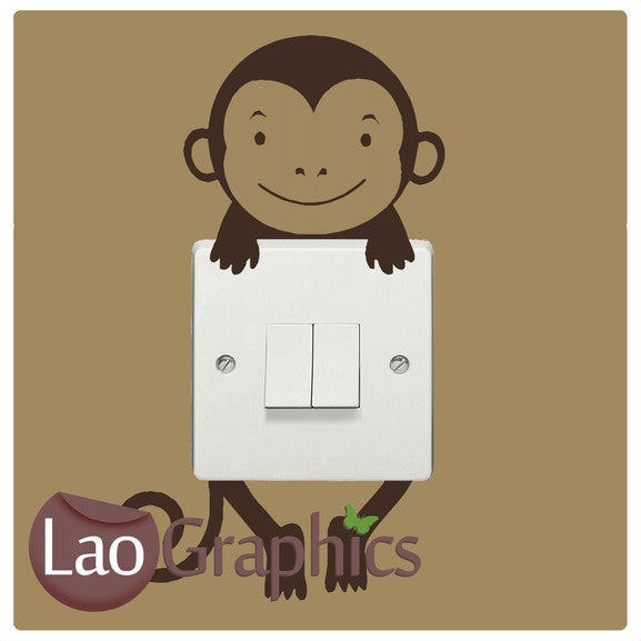 Monkey lightswitch Primate Wall Stickers Home Decor Mammal Art Decals-LaoGraphics