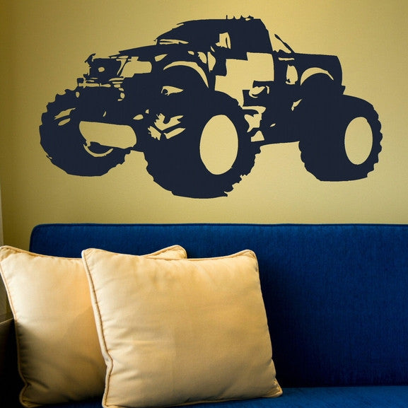 Monster Truck Vehicle Transport Wall Stickers Home Decor Art Decals-LaoGraphics