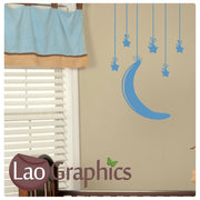 Moons & Stars on Strings Wall Stickers Home Decor Art Decals-LaoGraphics