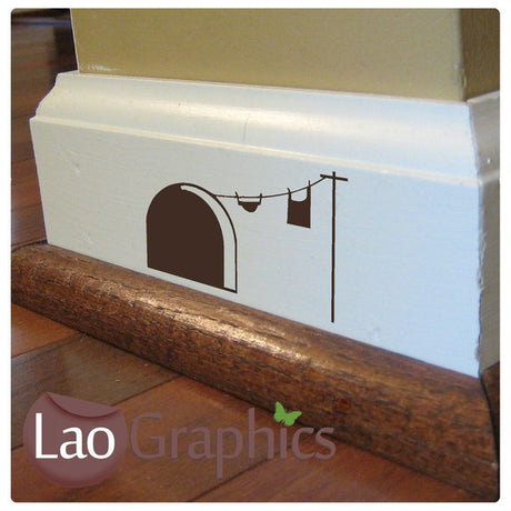 Mouse Door & Washing Line Mouse Door Home Decor Skirting Wall Stickers Art Decals-LaoGraphics