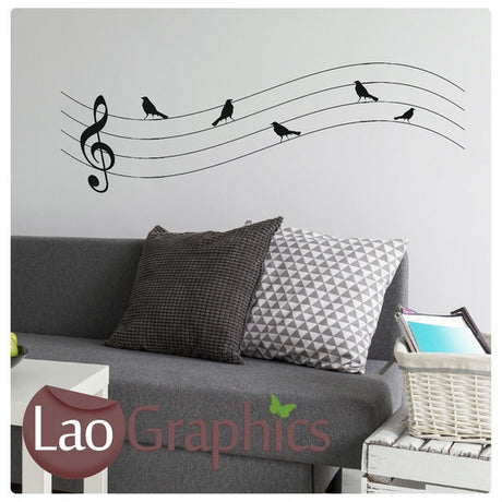 Music Birds Musical Wall Stickers Home Decor Music Art Decals-LaoGraphics