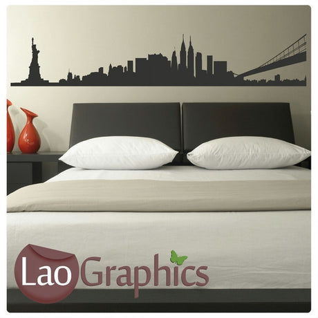 New York Skyline & Bridge City Scape Wall Stickers Home Decor Art Decals-LaoGraphics
