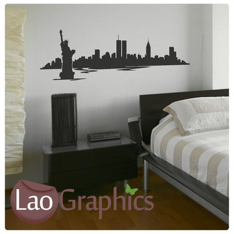New York Skyline City Scape Wall Stickers Home Decor Art Decals-LaoGraphics