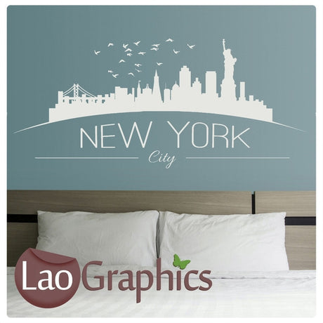 New York Skyline & Text City Scape Wall Stickers Home Decor Art Decals-LaoGraphics