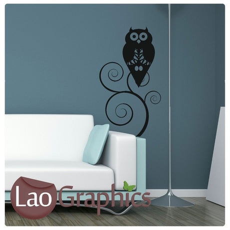 Owl Nature Wall Stickers Home Decor Large Tree Art Decals-LaoGraphics