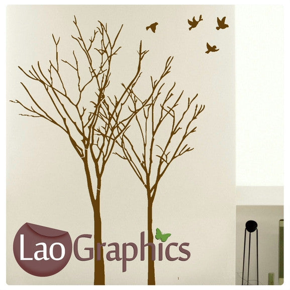 Pair of Trees & Birds Nature Wall Stickers Home Decor Large Tree Art Decals-LaoGraphics