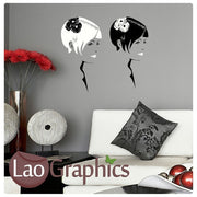 Pair of Womens Heads Girls Hair & Beauty Wall Stickers Home Decor Art Decals-LaoGraphics