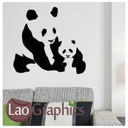 Panda & Cub Wild Animals Wall Stickers Home Decor Art Decals-LaoGraphics