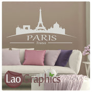 Paris Skyline & Text Wall Stickers Home Decor Art Decals-LaoGraphics