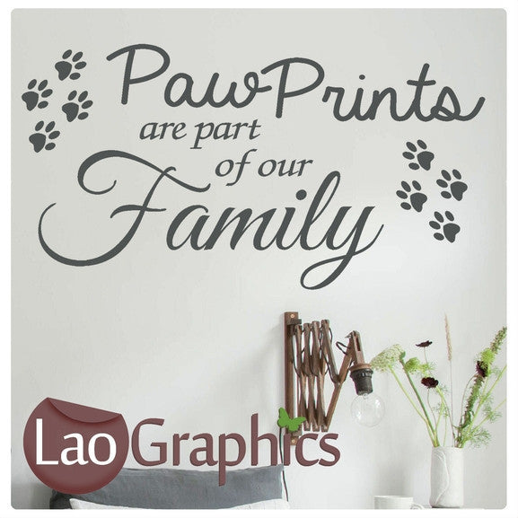 Paw Prints Family Quote Modern Interior Quote Wall Stickers Home Decor Art Decals-LaoGraphics