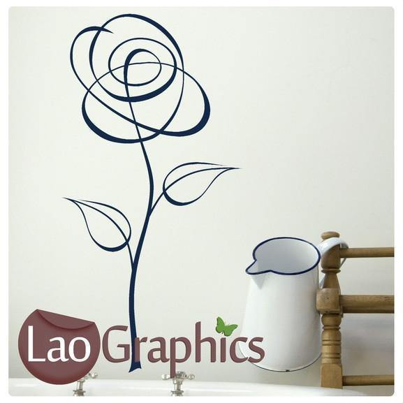 Pinstripe Flower Modern Interior Wall Stickers Home Decor Art Decals-LaoGraphics
