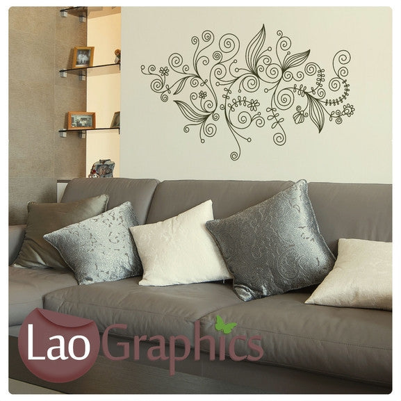 Pinstripe Flower Pattern Modern Interior Wall Stickers Home Decor Art Decals-LaoGraphics