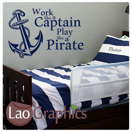 Pirate Quote Boys Bedroom Quote Wall Stickers Home Decor Art Decals-LaoGraphics