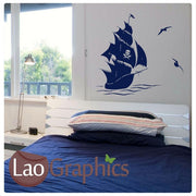 Pirate Ship & Birds Boats & Sailing Wall Stickers Home Decor Art Decals-LaoGraphics