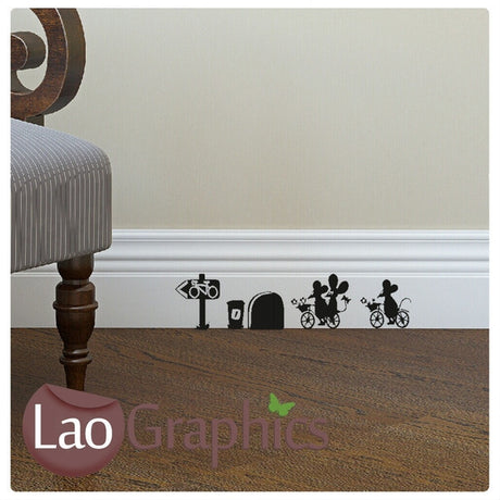 Pizza Delivery Mouse Set Mouse Door Home Decor Skirting Wall Stickers Art Decals-LaoGraphics
