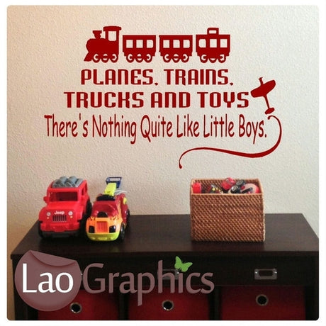 Planes Trains Trucks Quotes Boys Bedroom Quote Wall Stickers Home Decor Art Decals-LaoGraphics