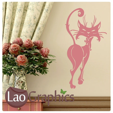 Posh Cat House Cats Wall Stickers Home Decor Feline Art Decals-LaoGraphics