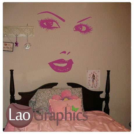Pretty Face Girls Room Wall Stickers Home Decor Art Decals-LaoGraphics