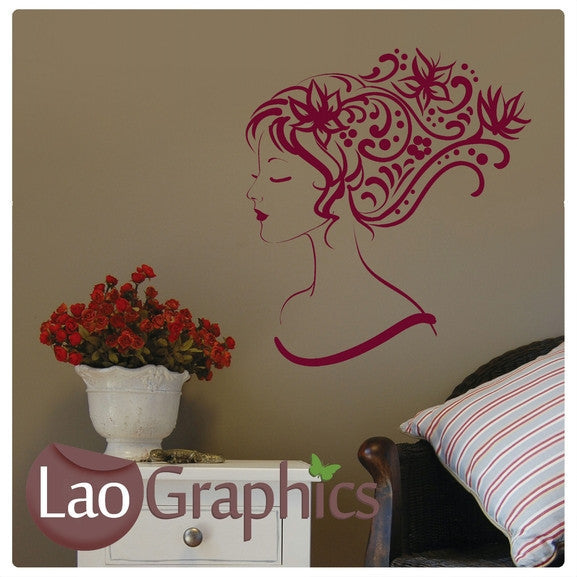 Pretty Haired Woman Girls Bedroom Wall Stickers Home Decor Art Decals-LaoGraphics