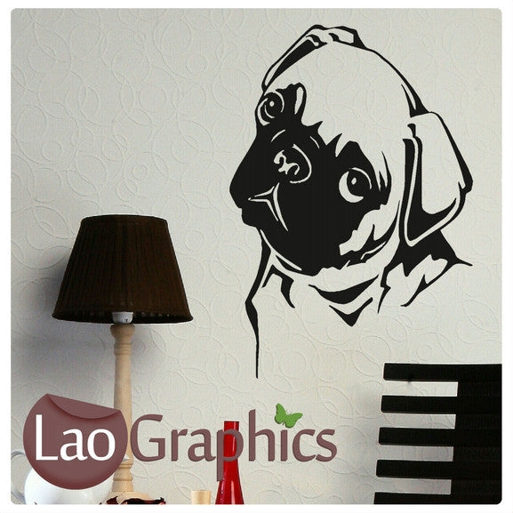 Pug Dog Canine Puppy Dog Lovers Wall Stickers Home Decor Art Decals-LaoGraphics