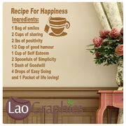 Recipe For Happiness Kitchen Kitchen Quote Wall Stickers Home Decor Art Decals-LaoGraphics