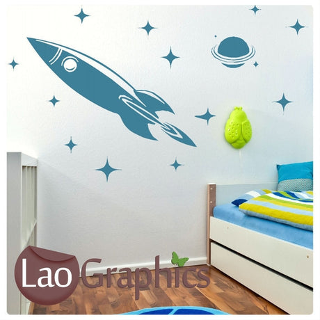 Rocket & Stars Childs Wall Stickers Home Decor Art Decals-LaoGraphics