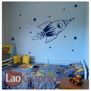 Rocket & Stars Space Childs Wall Stickers Home Decor Art Decals-LaoGraphics