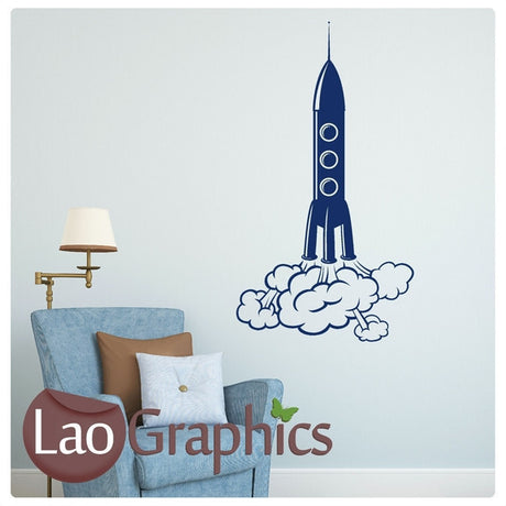 Rocket Taking Off Childs Wall Stickers Home Decor Art Decals-LaoGraphics
