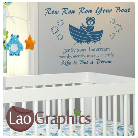 Row Row Row Your Boat Wall Stickers Home Decor Art Decals-LaoGraphics