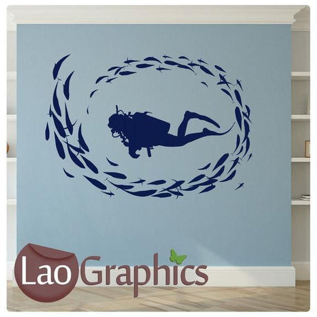 Scuba Diver & Fish Boys Aquatic Wall Stickers Home Decor Art Decals-LaoGraphics
