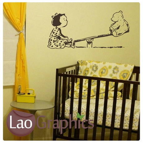 Seesaw Teddy Bear Wall Stickers Home Decor Art Decals-LaoGraphics