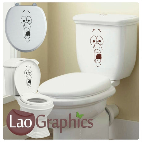 Shocked Face Bathroom Toilet Stickers Home Decor Art Decals-LaoGraphics