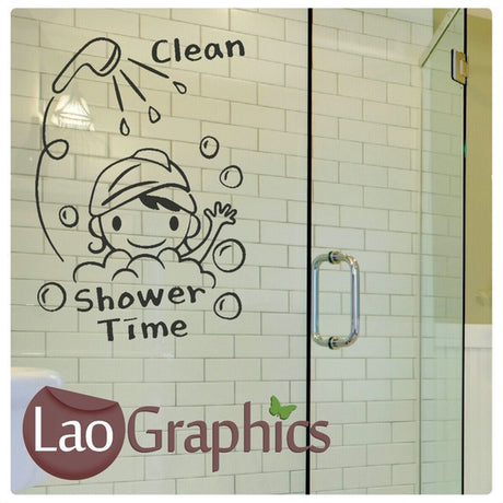 Shower Time Bath Bathroom Wall Stickers Home Decor Art Decals-LaoGraphics