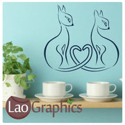 Siamese Cats Girls Room Wall Stickers Home Decor Pretty Art Decals-LaoGraphics