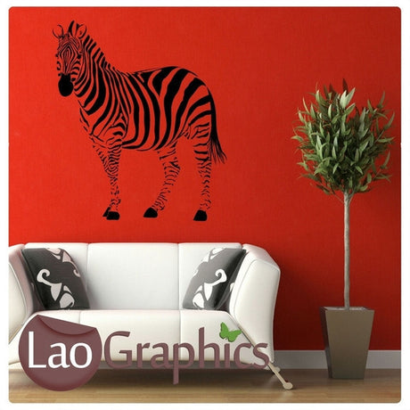 Side Zebra African Wild Animals Wall Stickers Home Transfer Art Decals-LaoGraphics