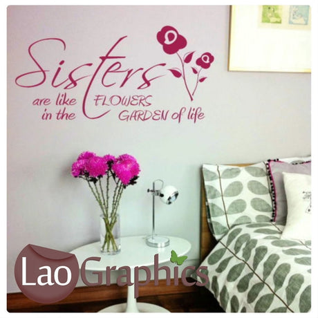 Sisters Girls Quote Girls Wall Stickers Home Decor Art Decals-LaoGraphics