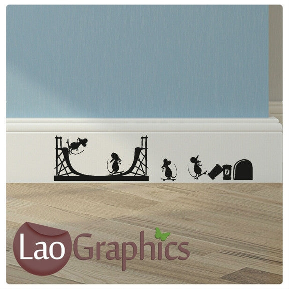 Skate Park Mouse Set Mouse Door Home Decor Skirting Wall Stickers Art Decals-LaoGraphics