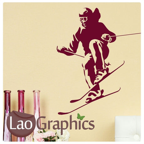 Skier Skiing Winter Sports Wall Stickers Home Decor Art Decals-LaoGraphics