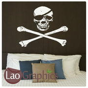 Skull & Crossbones (Negative) Skulls & Bones Sea Bandit Boys Wall Stickers Home Decor Art Decalss-LaoGraphics