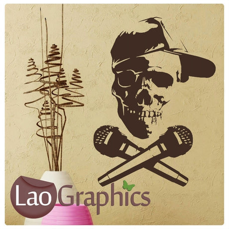 Skull & Microphones Skulls & Bones Musical Wall Stickers Home Decor Music Art Decalss-LaoGraphics