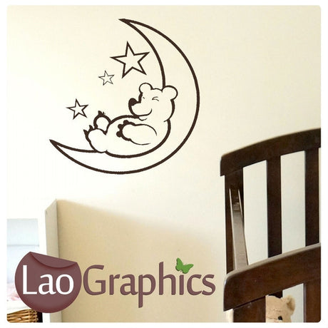Sleeping Bear in Moon Childrens Nursery Nursery Wall Stickers Home Decor Childrens Art Decals-LaoGraphics