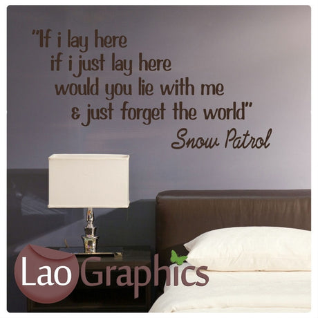 Snow Patrol Lay Here Vinyl Quote Wall Stickers Home Decor Art Decals-LaoGraphics
