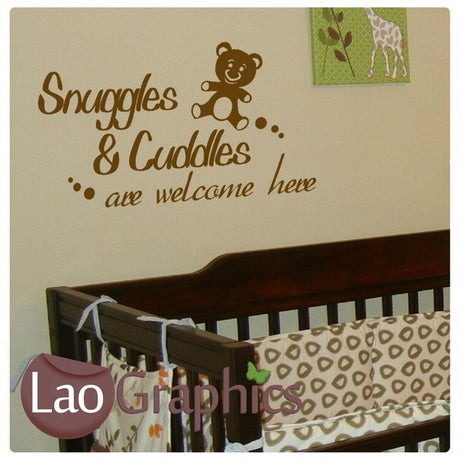 Snuggles & Cuddles Nursery Quote Home Decor Art Decals-LaoGraphics