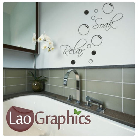 Soak & Relax Bathroom Quote Wall Sticker Home Decor Art Decals-LaoGraphics