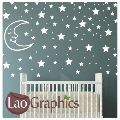 Stars & Moon Childs Wall Stickers Home Decor Art Decals-LaoGraphics