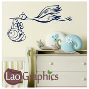 Stork Carrying a Baby Wall Stickers Home Decor Art Decals-LaoGraphics