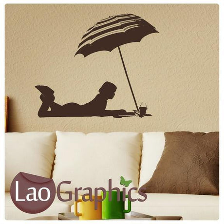 Sunbathing Beach Umbrella Vinyl Transfer Wall Stickers Home Decor Art Decals-LaoGraphics
