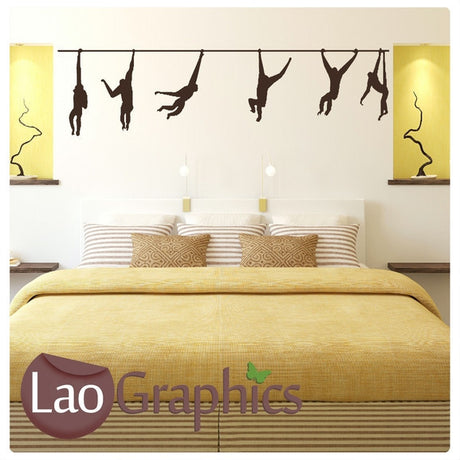 Swinging Monkeys Primate Wall Stickers Home Decor Mammal Art Decals-LaoGraphics