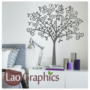 Swirly Tree Nature Wall Stickers Home Decor Large Tree Art Decals-LaoGraphics