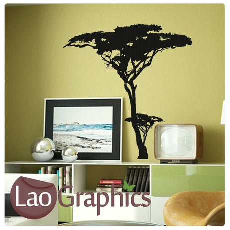 Tall African Tree African Wall Sticker Home Decor Africa Art Decals-LaoGraphics